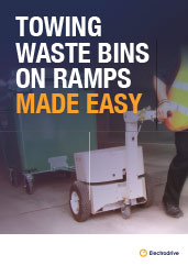 Towing waste bins on ramps