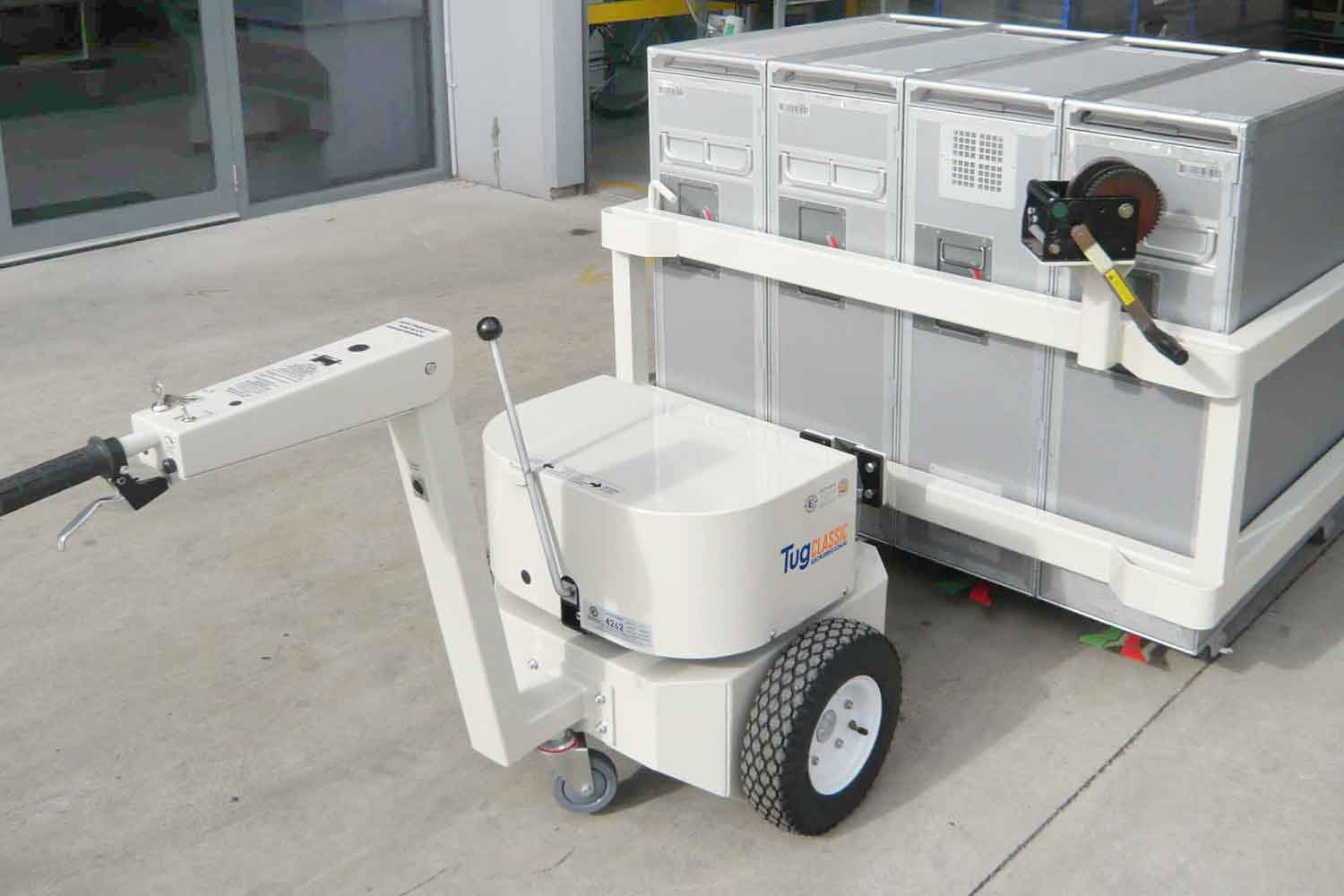 Electrodrive's Tug Classic towing an airline cart