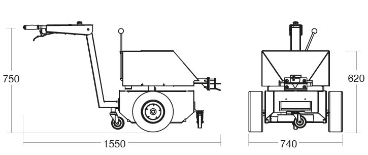 A diagram of the Tug Classic with its dimensions