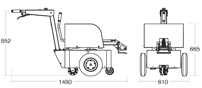A diagram of the Tug Evo with its dimensions