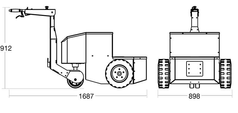 A diagram of the Tug Incliner with its dimensions