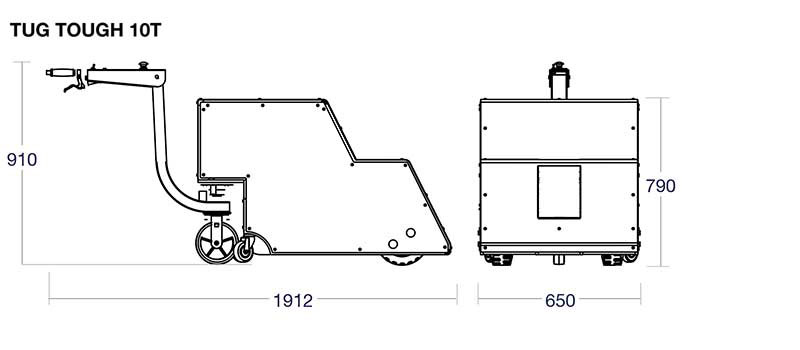 Diagrams of the Tug Tough (10T and 20T) with their dimensions
